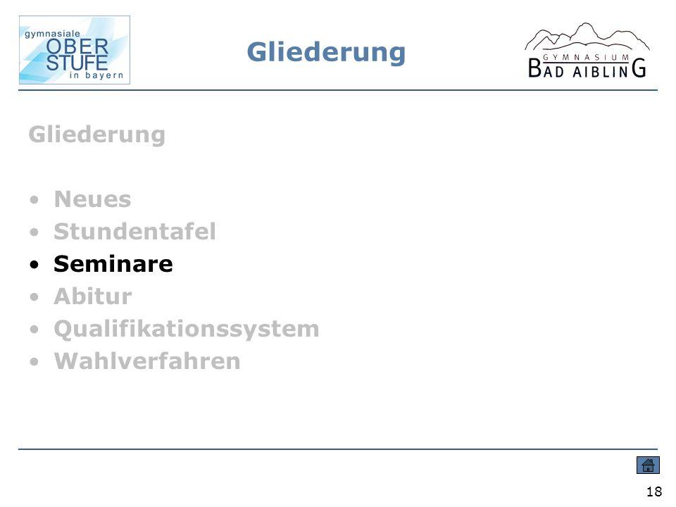 Gliederung 18 Gliederung Neues Stundentafel Seminare Abitur Qualifikationssystem Wahlverfahren