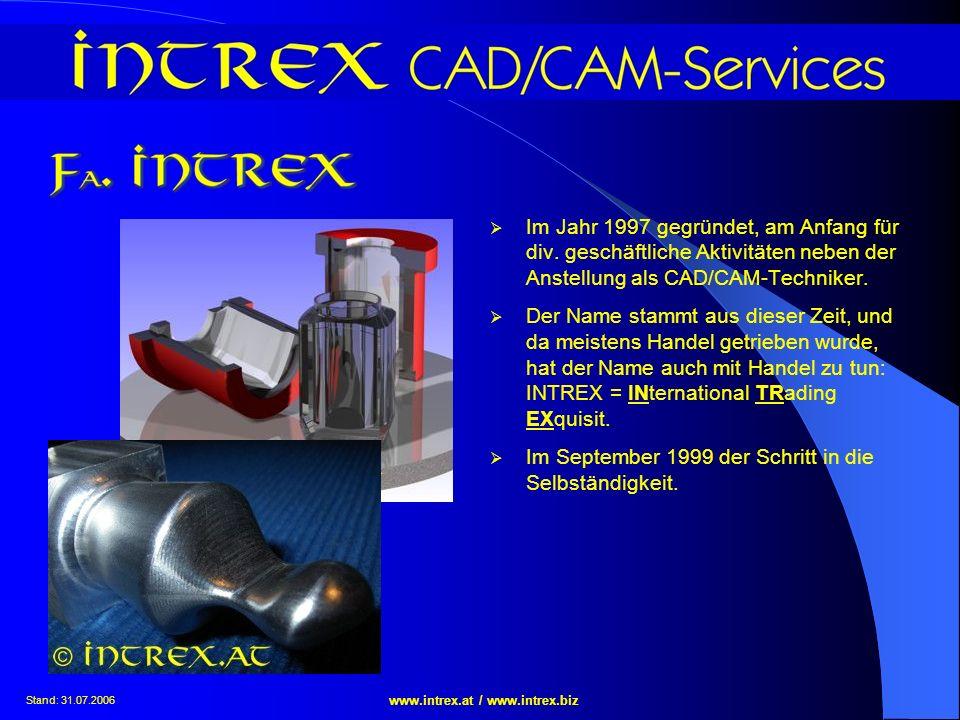 Stand: 31.07.2006 www.intrex.at / www.intrex.biz Im Jahr 1997 gegründet, am Anfang für div. geschäftliche Aktivitäten neben der Anstellung als CAD/CAM