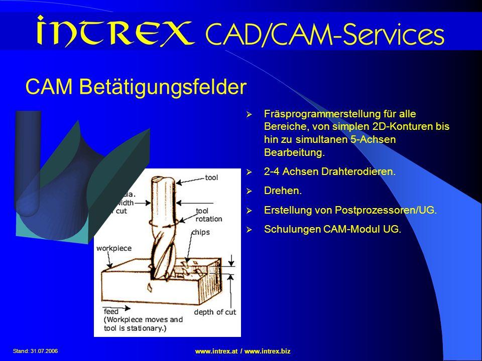 Stand: 31.07.2006 www.intrex.at / www.intrex.biz CAM Betätigungsfelder Fräsprogrammerstellung für alle Bereiche, von simplen 2D-Konturen bis hin zu si