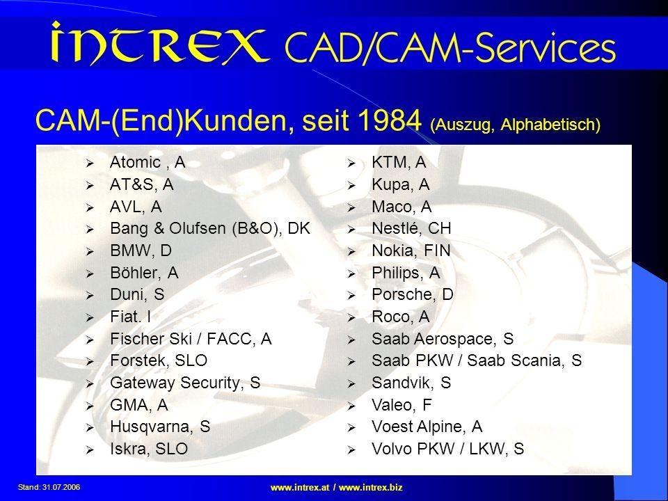 Stand: 31.07.2006 www.intrex.at / www.intrex.biz CAM-(End)Kunden, seit 1984 (Auszug, Alphabetisch) Atomic, A AT&S, A AVL, A Bang & Olufsen (B&O), DK B