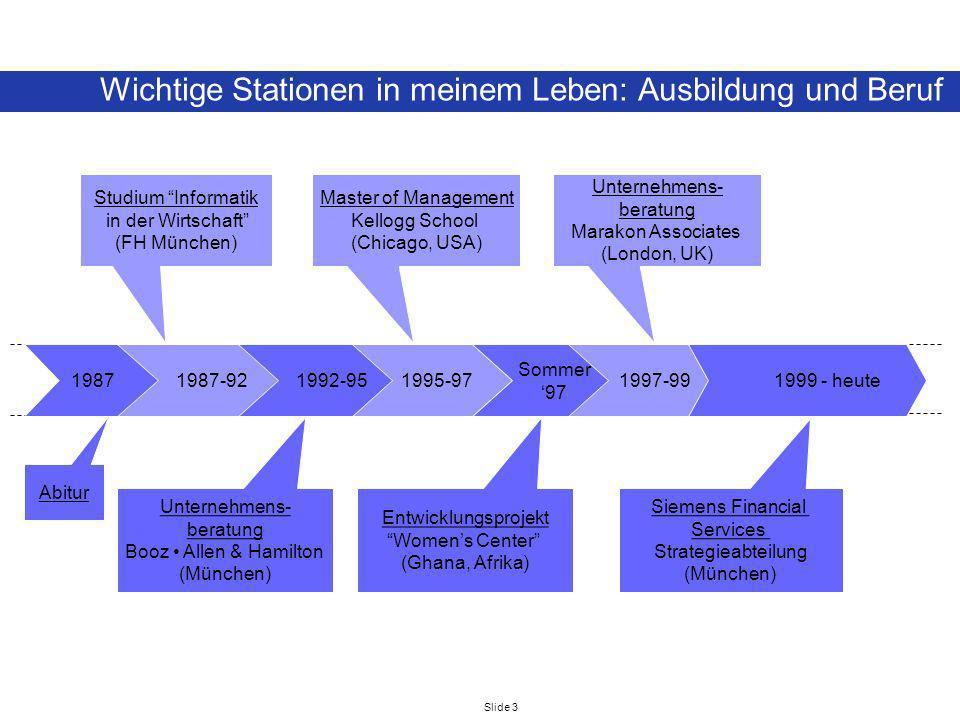 Slide 3 1987 Wichtige Stationen in meinem Leben: Ausbildung und Beruf 1987-92 1992-95 1995-97 Sommer 97 1997-99 1999 - heute Abitur Studium Informatik