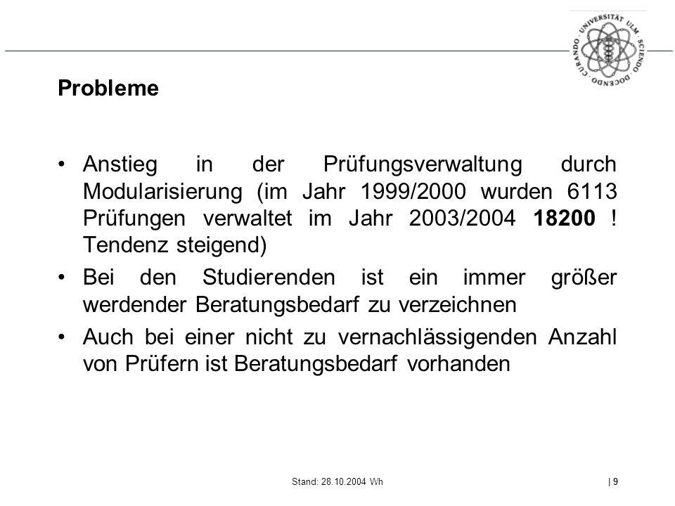 Stand: 28.10.2004 Wh| 9 Probleme Anstieg in der Prüfungsverwaltung durch Modularisierung (im Jahr 1999/2000 wurden 6113 Prüfungen verwaltet im Jahr 2003/2004 18200 .