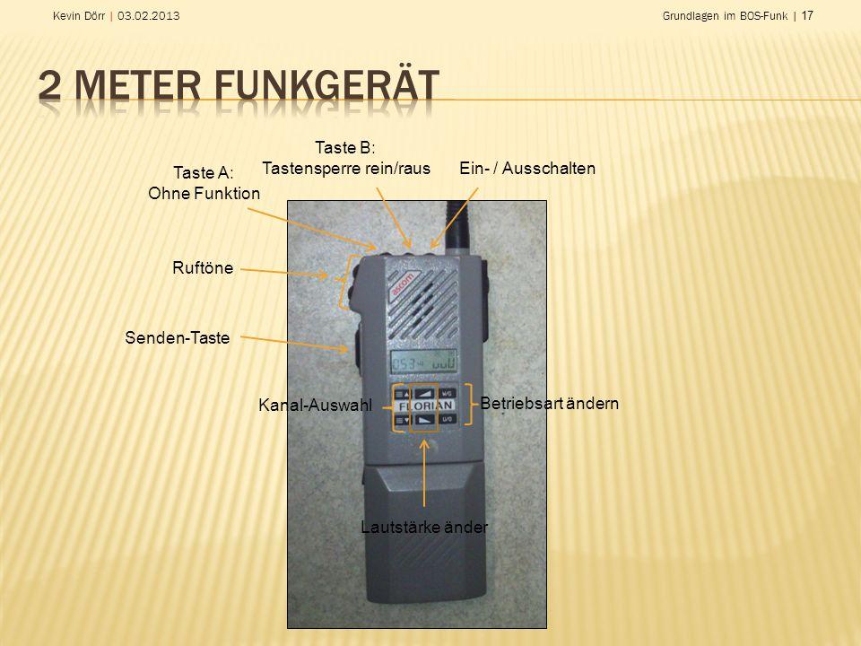 Kevin Dörr | 03.02.2013Grundlagen im BOS-Funk | 17 Ein- / Ausschalten Taste A: Ohne Funktion Taste B: Tastensperre rein/raus Ruftöne Senden-Taste Kana