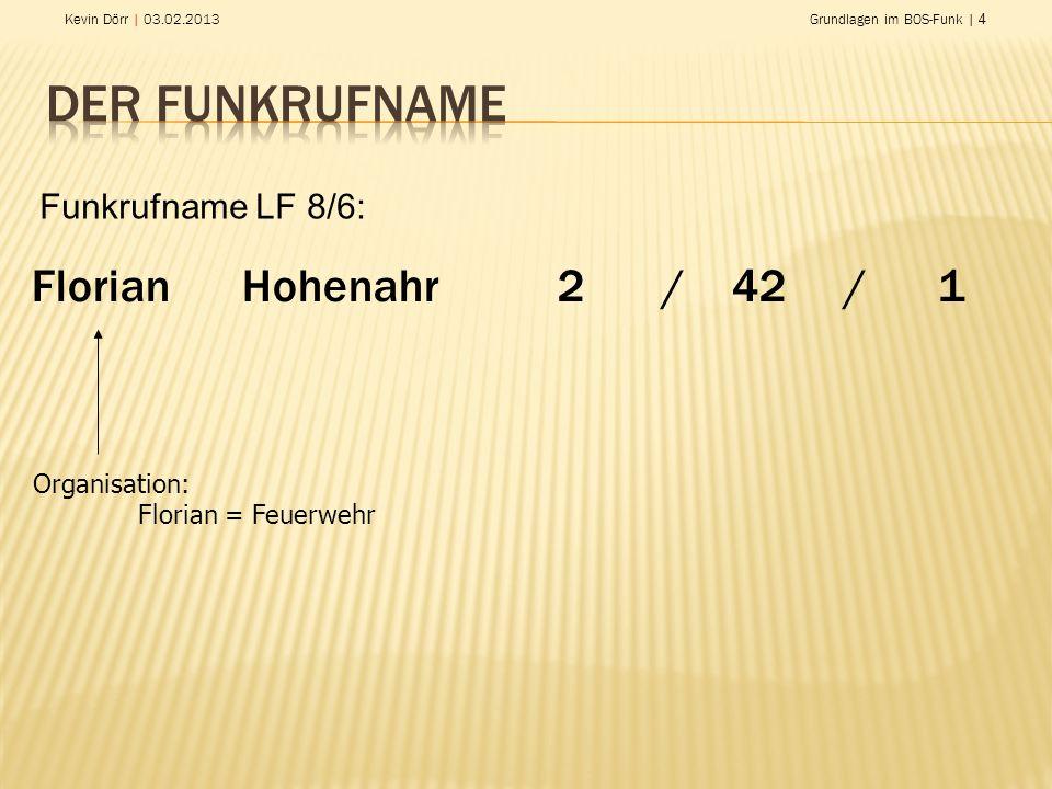 Kevin Dörr | 03.02.2013Grundlagen im BOS-Funk | 4 Florian Hohenahr2/ 42 / 1 Organisation: Florian = Feuerwehr Funkrufname LF 8/6: