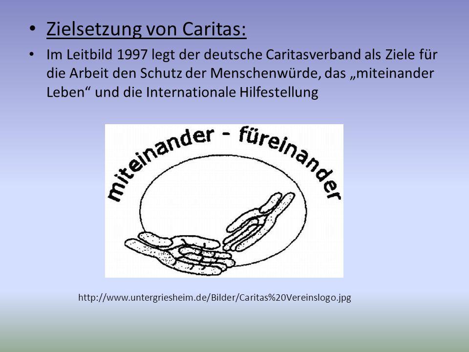 Zielsetzung von Caritas: Im Leitbild 1997 legt der deutsche Caritasverband als Ziele für die Arbeit den Schutz der Menschenwürde, das miteinander Lebe