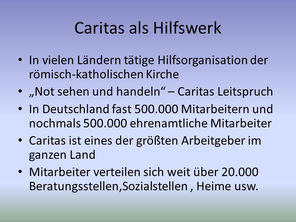 Caritas als Hilfswerk In vielen Ländern tätige Hilfsorganisation der römisch-katholischen Kirche Not sehen und handeln – Caritas Leitspruch In Deutsch