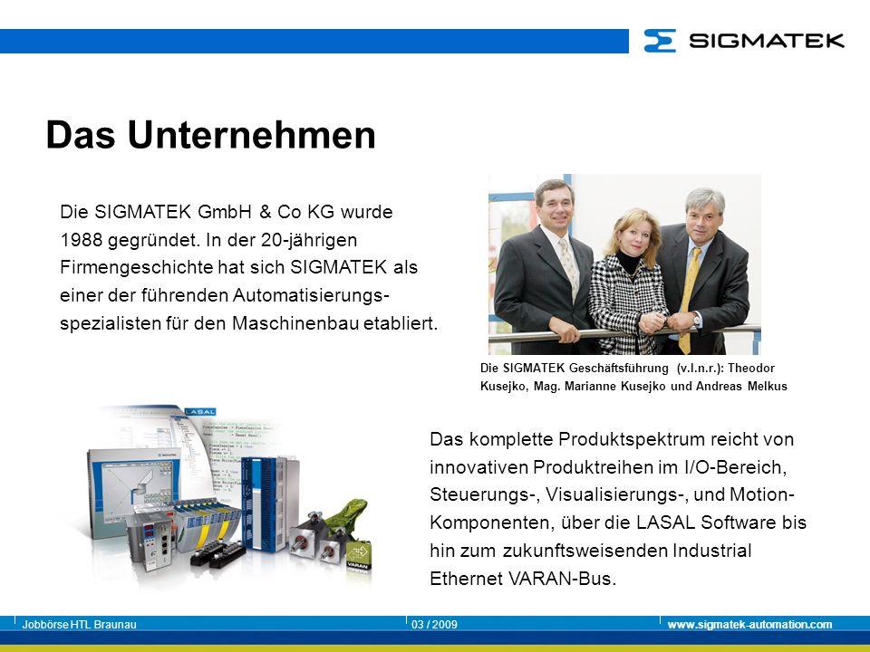 Jobbörse HTL Braunau03 / 2009www.sigmatek-automation.com Das komplette Produktspektrum reicht von innovativen Produktreihen im I/O-Bereich, Steuerungs