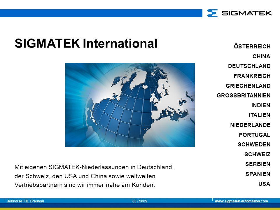 Jobbörse HTL Braunau03 / 2009www.sigmatek-automation.com ÖSTERREICH CHINA DEUTSCHLAND FRANKREICH GRIECHENLAND GROSSBRITANNIEN INDIEN ITALIEN NIEDERLAN