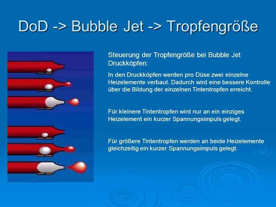 DoD -> Bubble Jet -> Tropfengröße Steuerung der Tropfengröße bei Bubble Jet Druckköpfen: In den Druckköpfen werden pro Düse zwei einzelne Heizelemente verbaut.