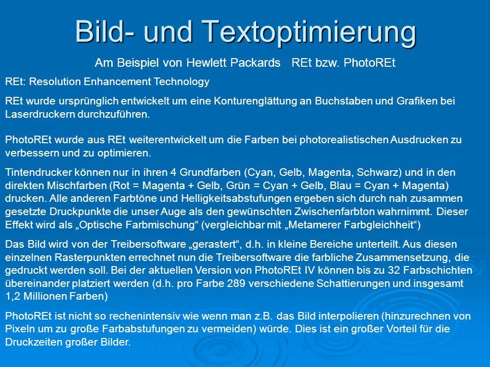 Bild- und Textoptimierung Am Beispiel von Hewlett Packards REt bzw.