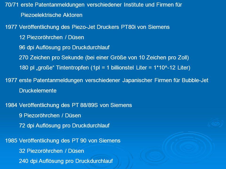 70/71 erste Patentanmeldungen verschiedener Institute und Firmen für Piezoelektrische Aktoren 1977 Veröffentlichung des Piezo-Jet Druckers PT80i von Siemens 12 Piezoröhrchen / Düsen 96 dpi Auflösung pro Druckdurchlauf 270 Zeichen pro Sekunde (bei einer Größe von 10 Zeichen pro Zoll) 180 pl große Tintentropfen (1pl = 1 billionstel Liter = 1*10^-12 Liter) 1984 Veröffentlichung des PT 88/89S von Siemens 9 Piezoröhrchen / Düsen 72 dpi Auflösung pro Druckdurchlauf 1985 Veröffentlichung des PT 90 von Siemens 32 Piezoröhrchen / Düsen 240 dpi Auflösung pro Druckdurchlauf 1977 erste Patentanmeldungen verschiedener Japanischer Firmen für Bubble-Jet Druckelemente