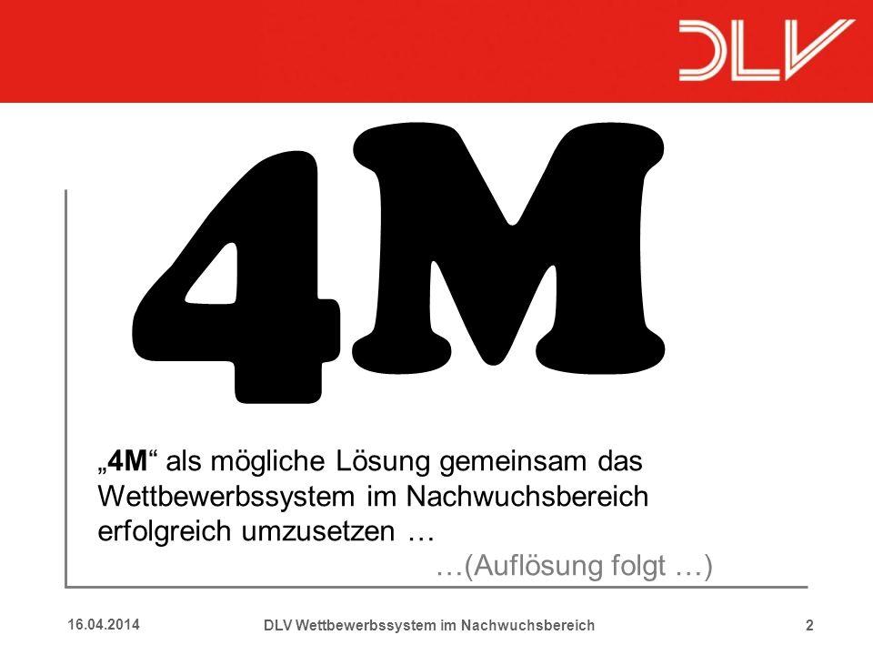 216.04.2014 4M DLV Wettbewerbssystem im Nachwuchsbereich 4M als mögliche Lösung gemeinsam das Wettbewerbssystem im Nachwuchsbereich erfolgreich umzuse