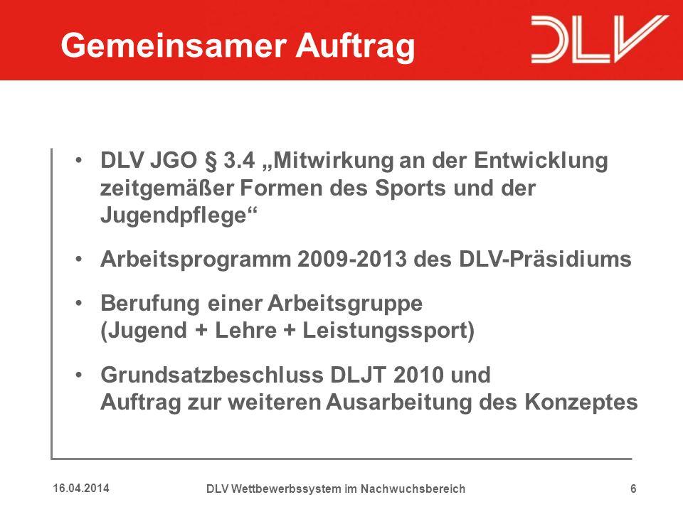 6 Gemeinsamer Auftrag DLV JGO § 3.4 Mitwirkung an der Entwicklung zeitgemäßer Formen des Sports und der Jugendpflege Arbeitsprogramm 2009-2013 des DLV