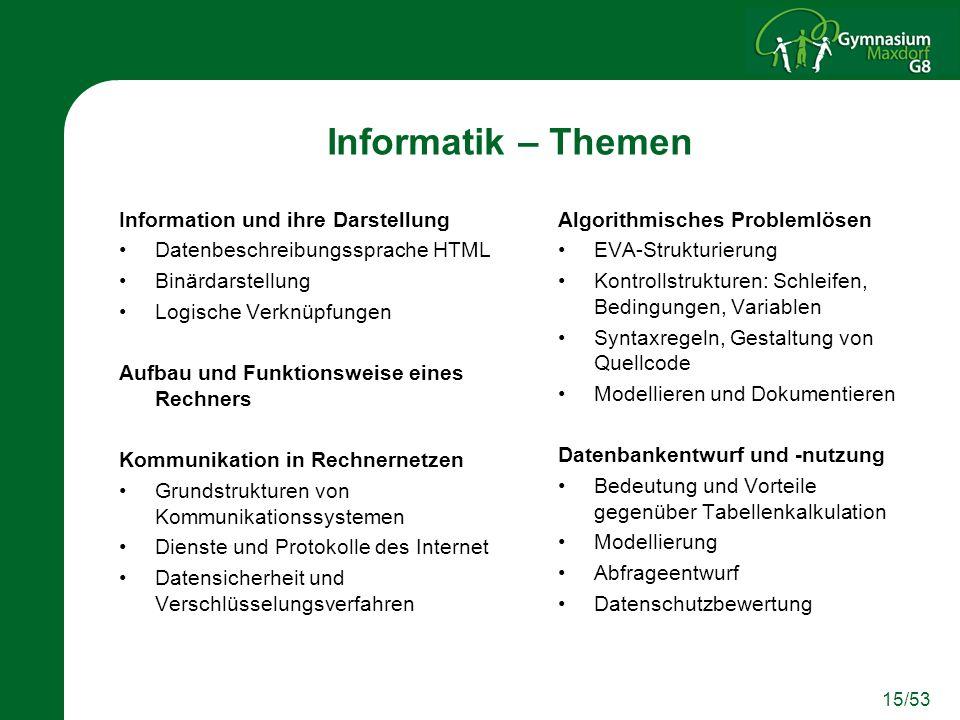 15/53 Informatik – Themen Information und ihre Darstellung Datenbeschreibungssprache HTML Binärdarstellung Logische Verknüpfungen Aufbau und Funktions