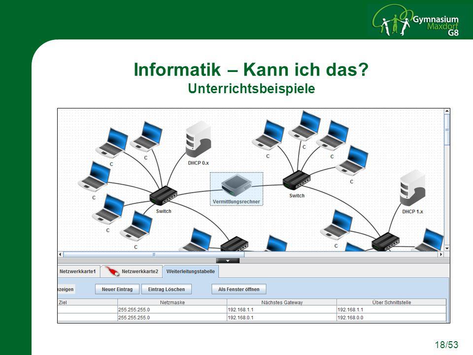 18/53 Informatik – Kann ich das? Unterrichtsbeispiele