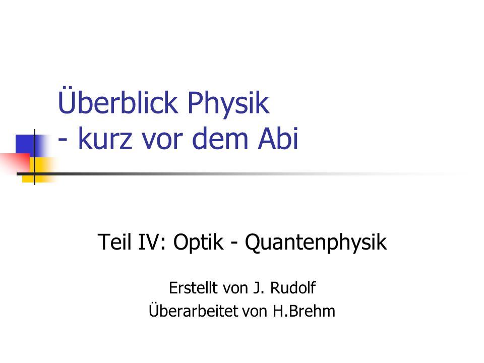 Inhalt Optik Quantenphysik Atommodelle