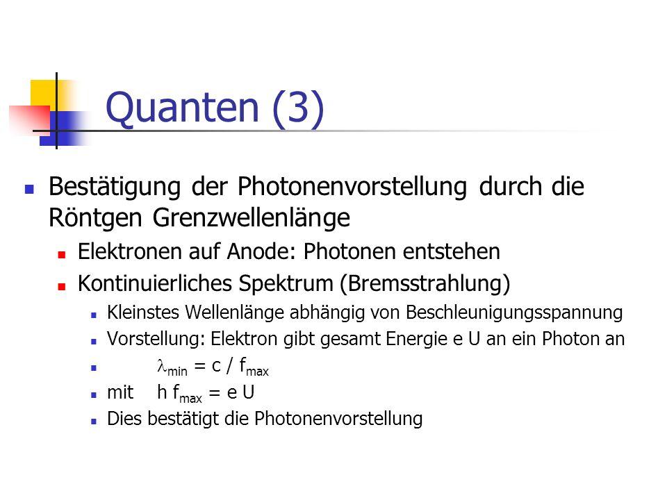 Quanten (4) Einstein-Gleichung: W = m c² Masse äquivalent zu Energie Masse von Photonen h f = m c² m = h f /c² = h / ( c) Impuls von Photonen: p = m c h f = m c² p = h / (De-Broglie-Formel)