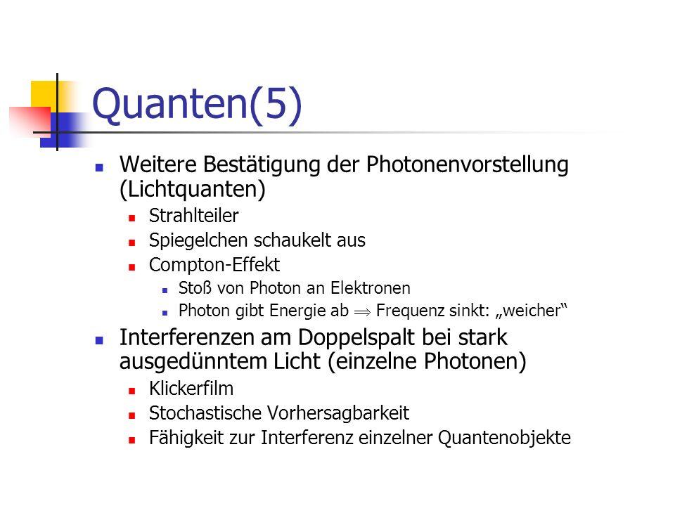 Quanten (6) Elektron als Quantenobjekt: Interferenzerscheinungen Experiment: Elektronenbeugungsröhre Bragg-Reflexion: 2 d sin( ) = k Debey-Scherrer-Verfahren: polykristallin tan(2 ) = R/L (L: Abstand Kristall-Schirm) Experiment: Doppelspalt-Experiment (Jönsson) Wellenlänge von Elektronen: = h / p = h / (m v)(De-Broglie-Formel) Abhängig von Geschwindigkeit der Elektronen