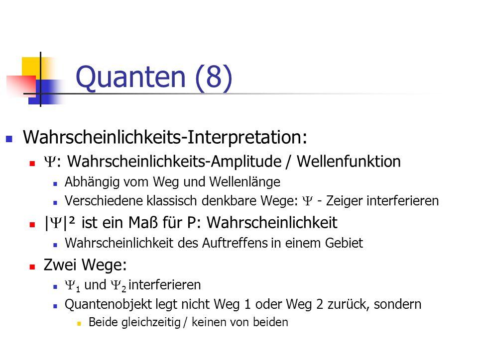 Die vier Wesenszüge von Quantenobjekten Stochastische Vorhersagbarkeit Klassische Mechanik: Determiniertheit, strenge Kausalität Quantenmechanik: Zufall, eingeschränkte Kausalität (Wahrscheinlichkeitsaussagen) Der Alte würfelt nicht Fähigkeit zur Interferenz einzelner Objekte Es muss mehrer klassisch denkbare (ununterscheidbare) Wege für das Quantenobjekt geben.