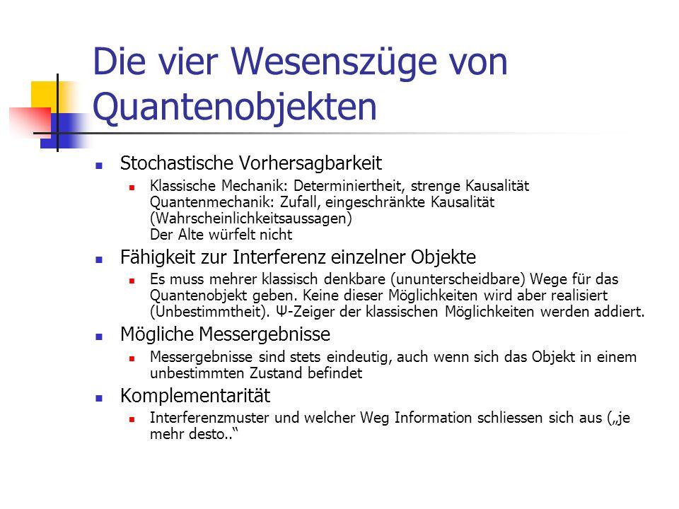Quanten (8) Der phantastische Knallertest Schon die Möglichkeit zu einer Messung führt zu einem anderen Versuchsergebnis Verschränkte Quantenobjekte Die Quantenphysik ist nichtlokal.