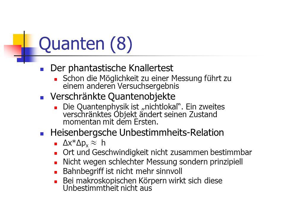 Atommodelle (1) Atommodelle : Rutherford: Planetenbahnen Widersprüche!: Strahlung, nicht stabil Bohr: Bohrsche Postulate (Polizeiverordnungen für Atome) Richtige Vorhersagen nur beim Wasserstoffatom Quantenphysik: Orbitale = Wahrscheinlichkeitswolken Stehende Wahrscheinlichkeitswellen im linearen Potentialtopf (Aufhebung der klassischen Widersprüche) Geordnet mit Quantenzahlen, z.