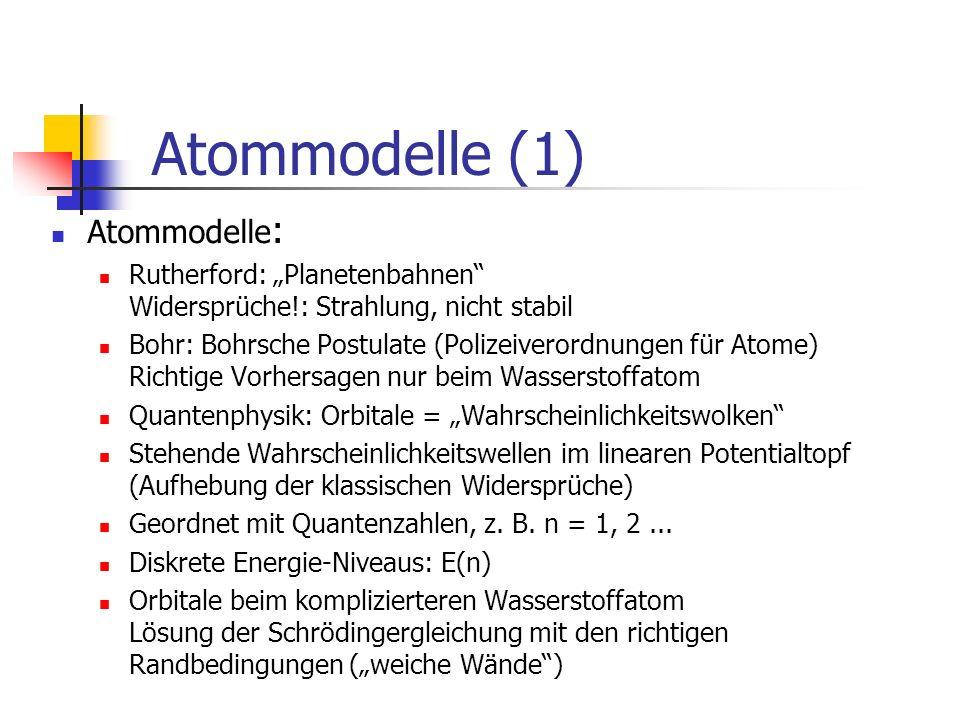 Atommodelle (2) Absorption (Anregung von Atomen) Atom nimmt Energie auf: Wärme / Stoß / Photon Elektron springt in eine äußere Schale Die Orbitale wandeln sich um, höhere Energie Absorptionsspektren: schwarze Striche Emission Atom sendet Photon aus Elektron springt in eine innere Schale Die Orbitale wandeln sich um, niedrigere Energie h f = W= E n – E m Franck Hertz Versuch (nur im Überblick) Anregung von freien Quecksilberatomen nur diskrete Energieaufnahme der Atome