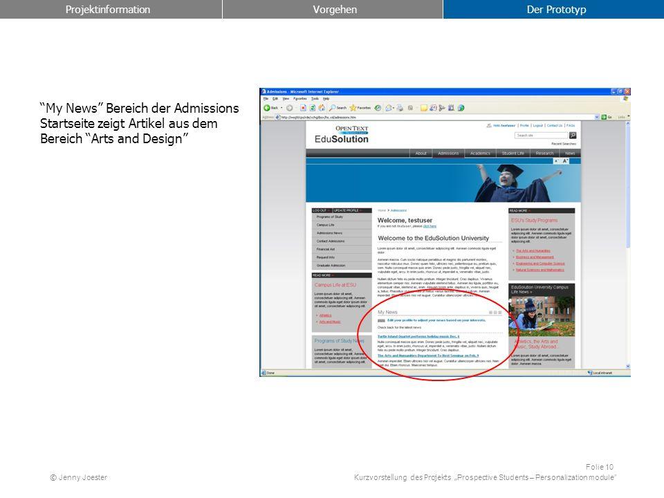 Kurzvorstellung des Projekts Prospective Students – Personalization module Folie 10 © Jenny Joester My News Bereich der Admissions Startseite zeigt Ar