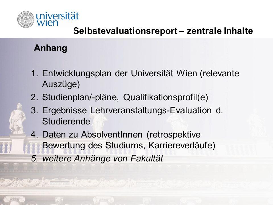 Selbstevaluationsreport – zentrale Inhalte Anhang 1.Entwicklungsplan der Universität Wien (relevante Auszüge) 2.Studienplan/-pläne, Qualifikationsprofil(e) 3.Ergebnisse Lehrveranstaltungs-Evaluation d.