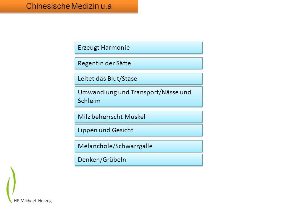 HP Michael Herzog Chinesische Medizin u.a Erzeugt Harmonie Regentin der Säfte Leitet das Blut/Stase Umwandlung und Transport/Nässe und Schleim Milz be