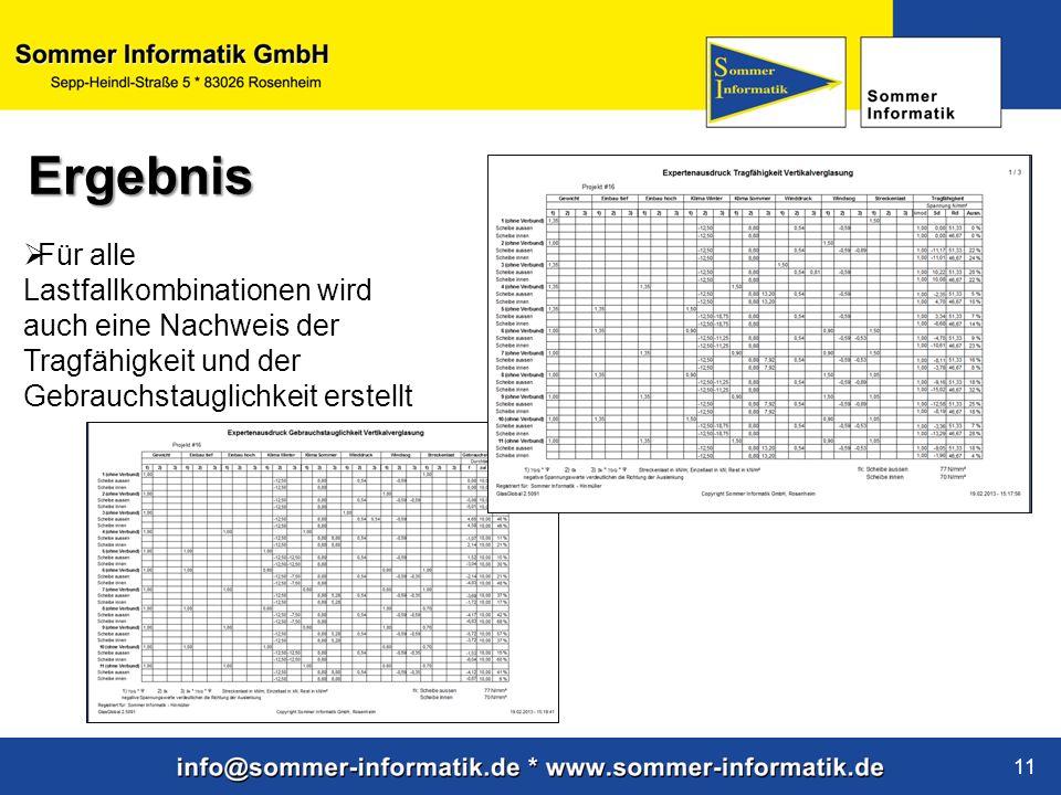 www.sommer-informatik.de 11 Für alle Lastfallkombinationen wird auch eine Nachweis der Tragfähigkeit und der Gebrauchstauglichkeit erstellt Ergebnis