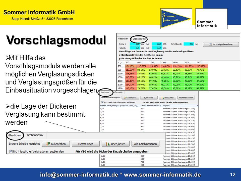 www.sommer-informatik.de 12 Mit Hilfe des Vorschlagsmoduls werden alle möglichen Verglasungsdicken und Verglasungsgrößen für die Einbausituation vorge