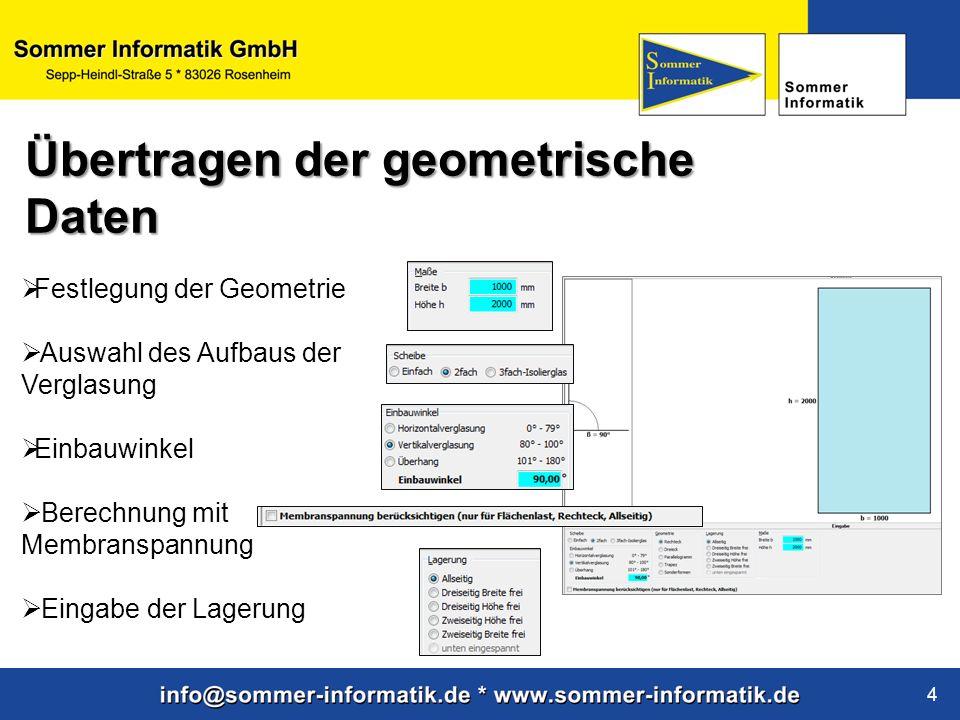 www.sommer-informatik.de 4 Festlegung der Geometrie Auswahl des Aufbaus der Verglasung Einbauwinkel Berechnung mit Membranspannung Eingabe der Lagerun