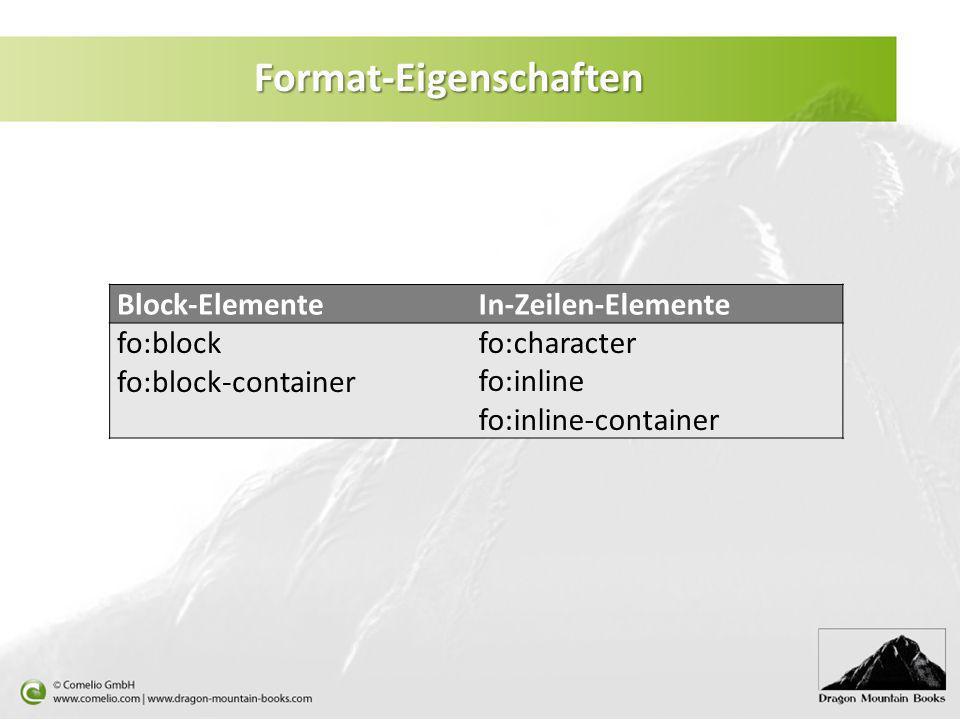 Format-Eigenschaften Block-ElementeIn-Zeilen-Elemente fo:block fo:block-container fo:character fo:inline fo:inline-container