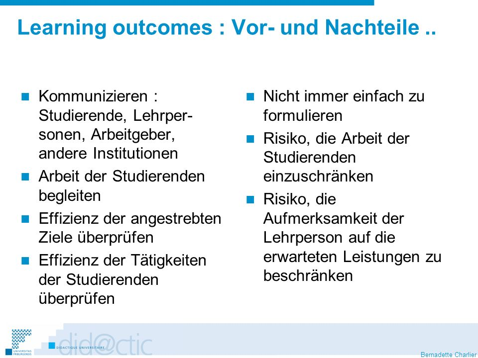 Bernadette Charlier Learning outcomes : Vor- und Nachteile..