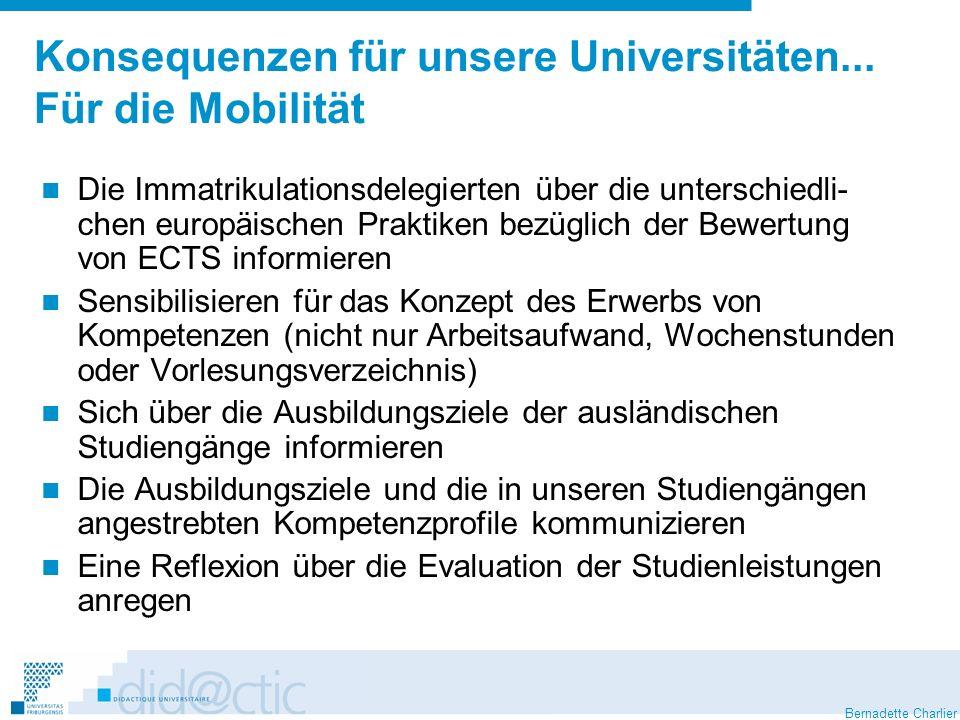 Bernadette Charlier Konsequenzen für unsere Universitäten... Für die Mobilität Die Immatrikulationsdelegierten über die unterschiedli- chen europäisch