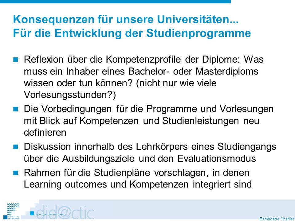 Bernadette Charlier Konsequenzen für unsere Universitäten... Für die Entwicklung der Studienprogramme Reflexion über die Kompetenzprofile der Diplome: