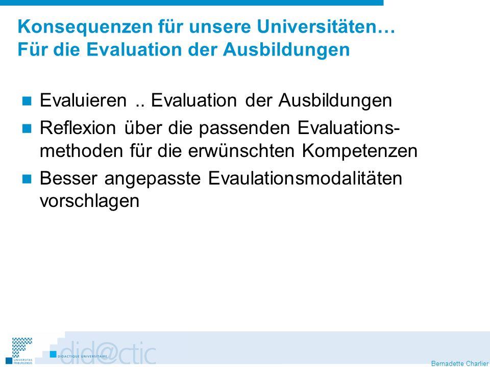 Bernadette Charlier Konsequenzen für unsere Universitäten… Für die Evaluation der Ausbildungen Evaluieren.. Evaluation der Ausbildungen Reflexion über