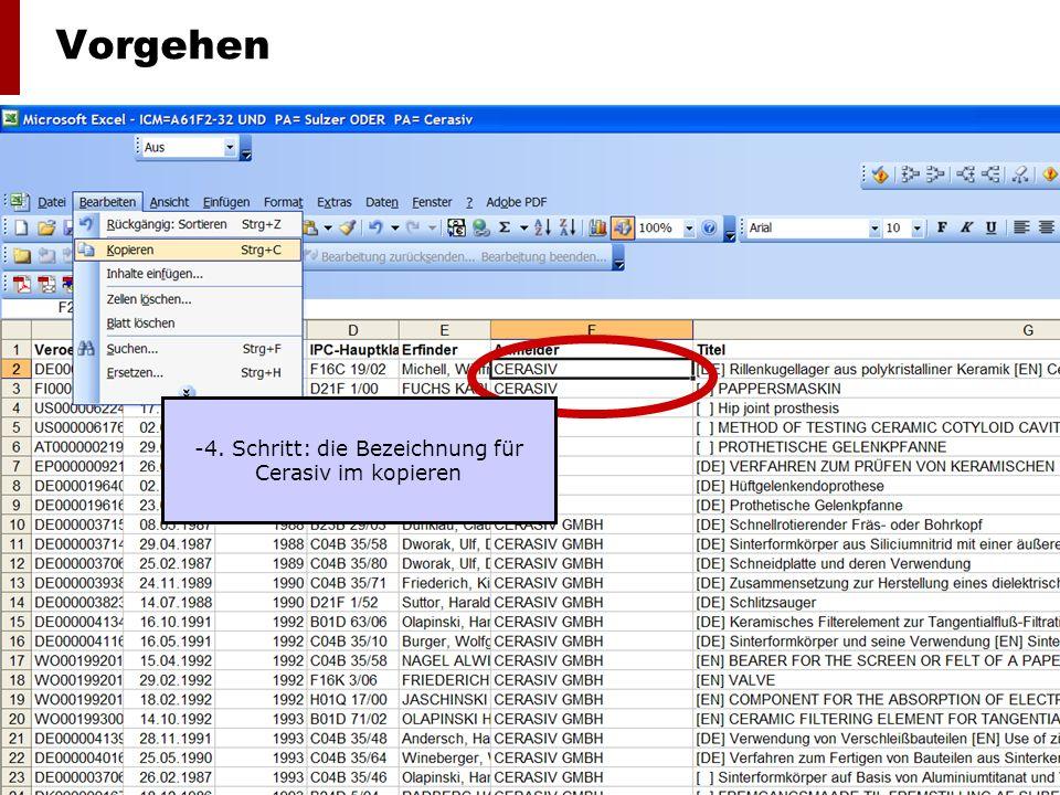 Lehrstuhl für Organisation, Technologie- und Innovationsmanagement, Prof. Dr. Margit Osterloh 8 Vorgehen -4. Schritt: die Bezeichnung für Cerasiv im k