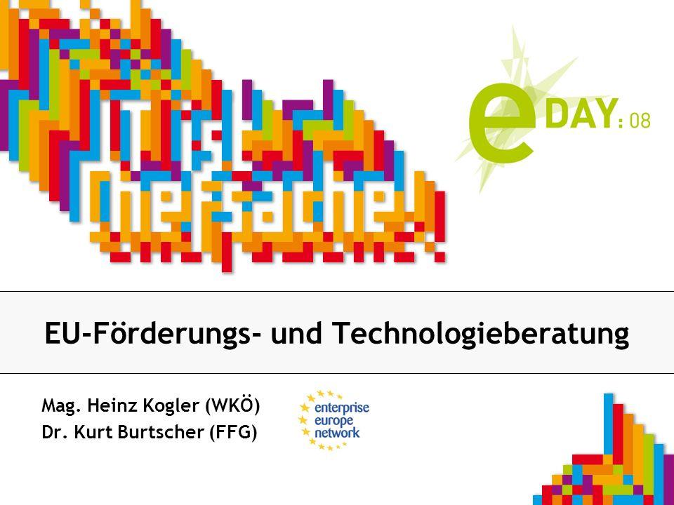 Firmenlogo EU-Förderungs- und Technologieberatung Mag. Heinz Kogler (WKÖ) Dr. Kurt Burtscher (FFG)