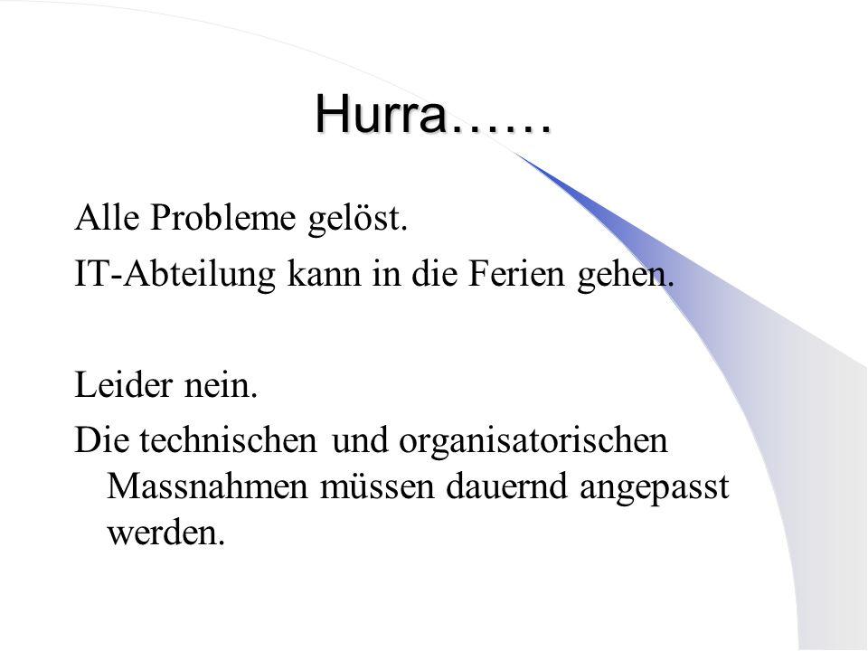 Hurra…… Alle Probleme gelöst. IT-Abteilung kann in die Ferien gehen. Leider nein. Die technischen und organisatorischen Massnahmen müssen dauernd ange