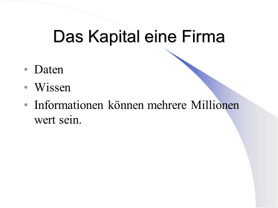 Das Kapital eine Firma Daten Wissen Informationen können mehrere Millionen wert sein.