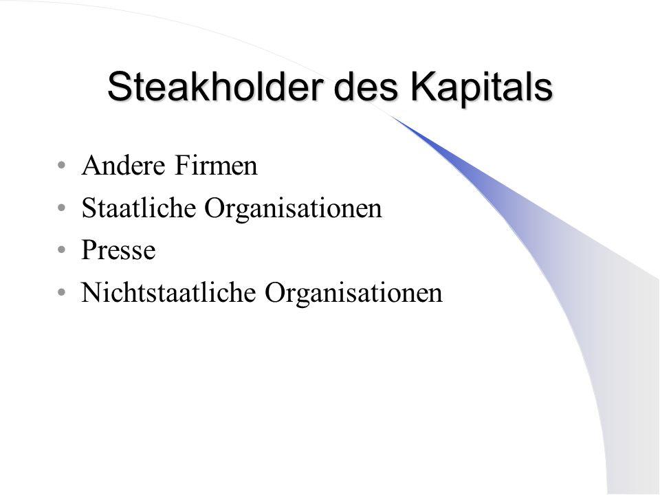 Steakholder des Kapitals Andere Firmen Staatliche Organisationen Presse Nichtstaatliche Organisationen