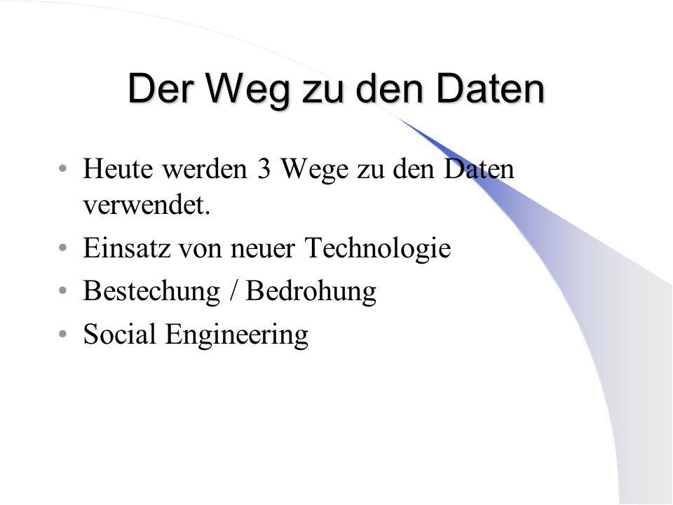 Der Weg zu den Daten Heute werden 3 Wege zu den Daten verwendet. Einsatz von neuer Technologie Bestechung / Bedrohung Social Engineering