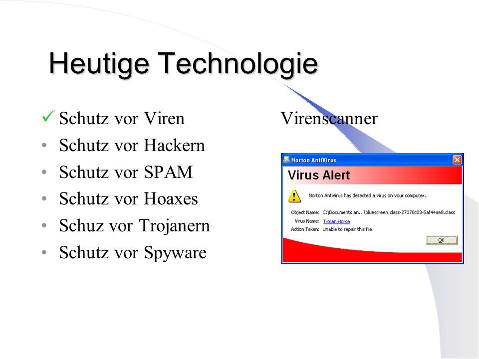 Heutige Technologie Schutz vor Viren Virenscanner Schutz vor Hackern Schutz vor SPAM Schutz vor Hoaxes Schuz vor Trojanern Schutz vor Spyware