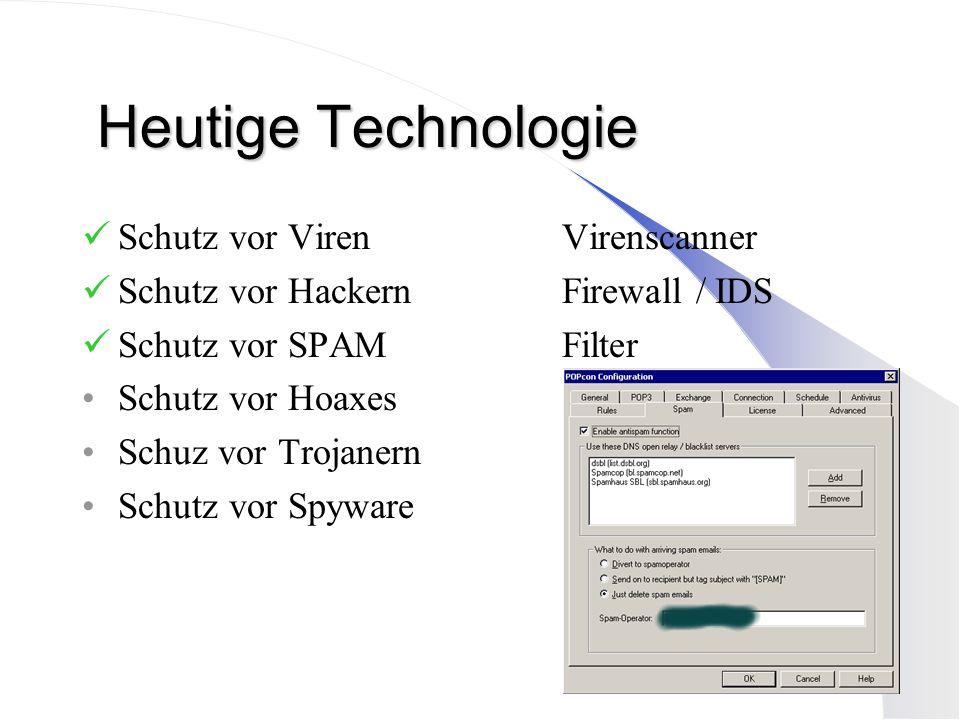 Heutige Technologie Schutz vor Viren Virenscanner Schutz vor HackernFirewall / IDS Schutz vor SPAMFilter Schutz vor Hoaxes Schuz vor Trojanern Schutz