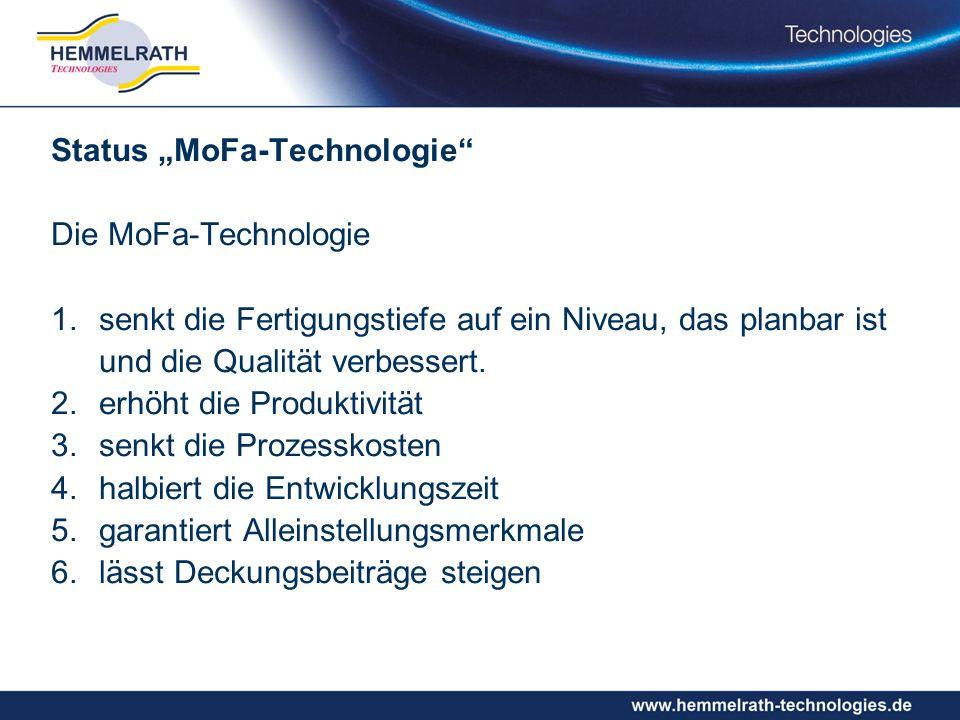 Status MoFa-Technologie Die MoFa-Technologie 1.senkt die Fertigungstiefe auf ein Niveau, das planbar ist und die Qualität verbessert.