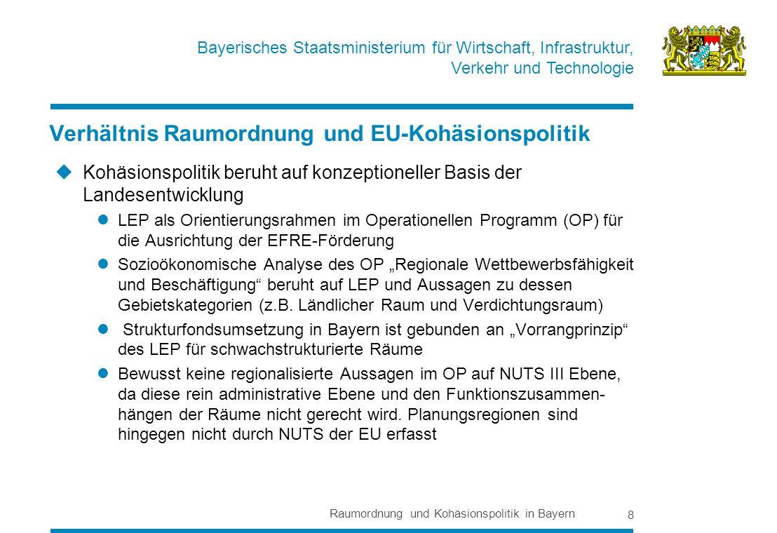 Bayerisches Staatsministerium für Wirtschaft, Infrastruktur, Verkehr und Technologie Raumordnung und Kohäsionspolitik in Bayern 8 Kohäsionspolitik beruht auf konzeptioneller Basis der Landesentwicklung LEP als Orientierungsrahmen im Operationellen Programm (OP) für die Ausrichtung der EFRE-Förderung Sozioökonomische Analyse des OP Regionale Wettbewerbsfähigkeit und Beschäftigung beruht auf LEP und Aussagen zu dessen Gebietskategorien (z.B.