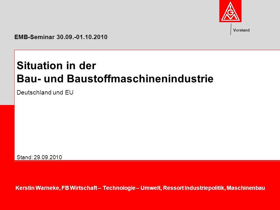 Vorstand EMB-Seminar 30.09.-01.10.2010 Kerstin Warneke, FB Wirtschaft – Technologie – Umwelt, Ressort Industriepolitik, Maschinenbau Situation in der