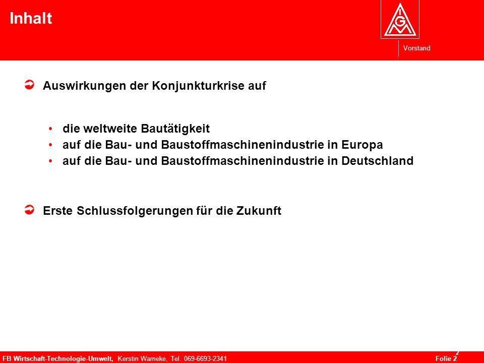 Vorstand FB Wirtschaft-Technologie-Umwelt, Kerstin Warneke, Tel. 069-6693-2341Folie 2 2 Inhalt Auswirkungen der Konjunkturkrise auf die weltweite Baut