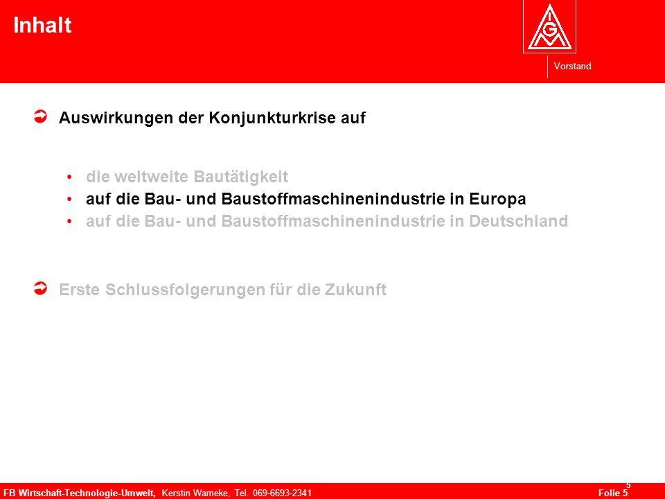 Vorstand FB Wirtschaft-Technologie-Umwelt, Kerstin Warneke, Tel. 069-6693-2341Folie 5 5 Inhalt Auswirkungen der Konjunkturkrise auf die weltweite Baut